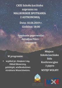 Malborskie Spotkania z Astronomią! @ CKiE Szkoła Łacińska