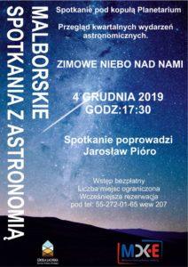 Malborskie spotkania z astronomią- Zimowe Niebo nad Malborkiem @ CKiE Szkoła Łacińska