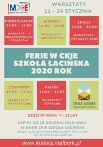 Warsztaty w CKiE Szkoła Łacińska 13-24 stycznia 2020 @ Stare Miasto 42