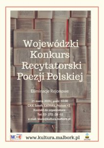 Wojewódzki Konkurs Recytatorski Poezji Polskiej @ CKiE Szkoła Łacińska